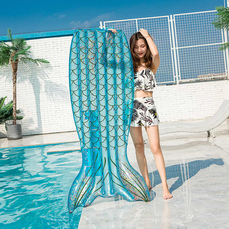 Giant Inflatable Mermaid Tail Pool Float Lie-on Floating Raft Colorful Fish Inflatable Lounger Summer Beach Swimming Pool Party