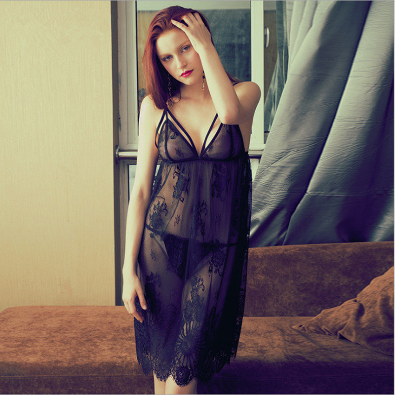 New arrival  sexy nightgown full lace sleep dress with softy material pink black blue color wellmade for women
