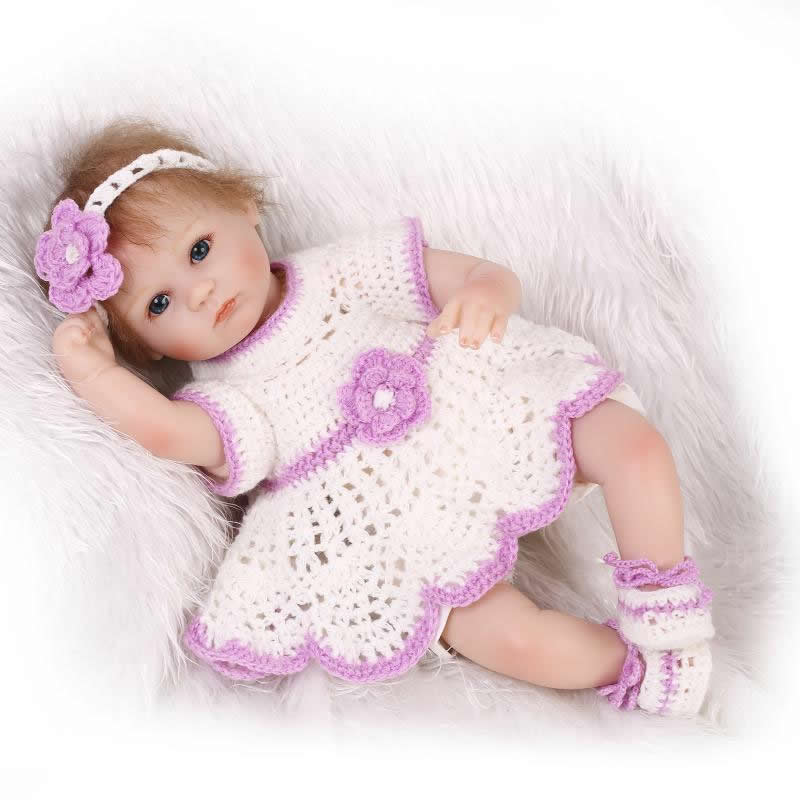 Fashion 17 Inch Reborn Baby Doll Girl Soft Silicone Baby Model Stuffed Dolls For Children Xmas Gift with Free Handmade Clothing handmade chinese ancient doll tang beauty princess pingyang 1 6 bjd dolls 12 jointed doll toy for girl christmas gift brinquedo