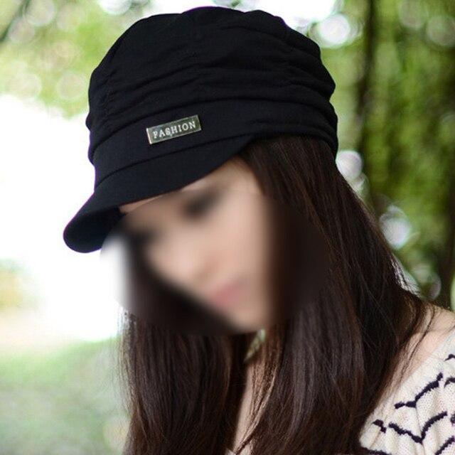 d6c03cf06a30ab TKOH Women Girl Fashion Design Drape Layers Beanie Rib Hat Brim Visor Cap  FFH010BLK Black