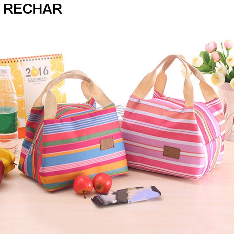 Portable Lunch Bag 2017 New Stripe Cooler Bag Thermal Insulation Bags Travel Picnic Food Lunch box bag for Women Girls Kids outdoor camping hiking picnic bags portable folding large picnic bag food storage basket handbags lunch box keep warm and cold