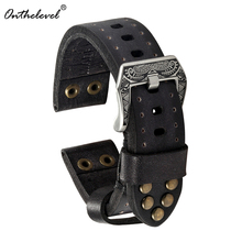Omthelevel Classical Genuine Leather Watch Strap With Rivets 18mm 20mm 22mm Vintage Watchband Carved Buckle #C