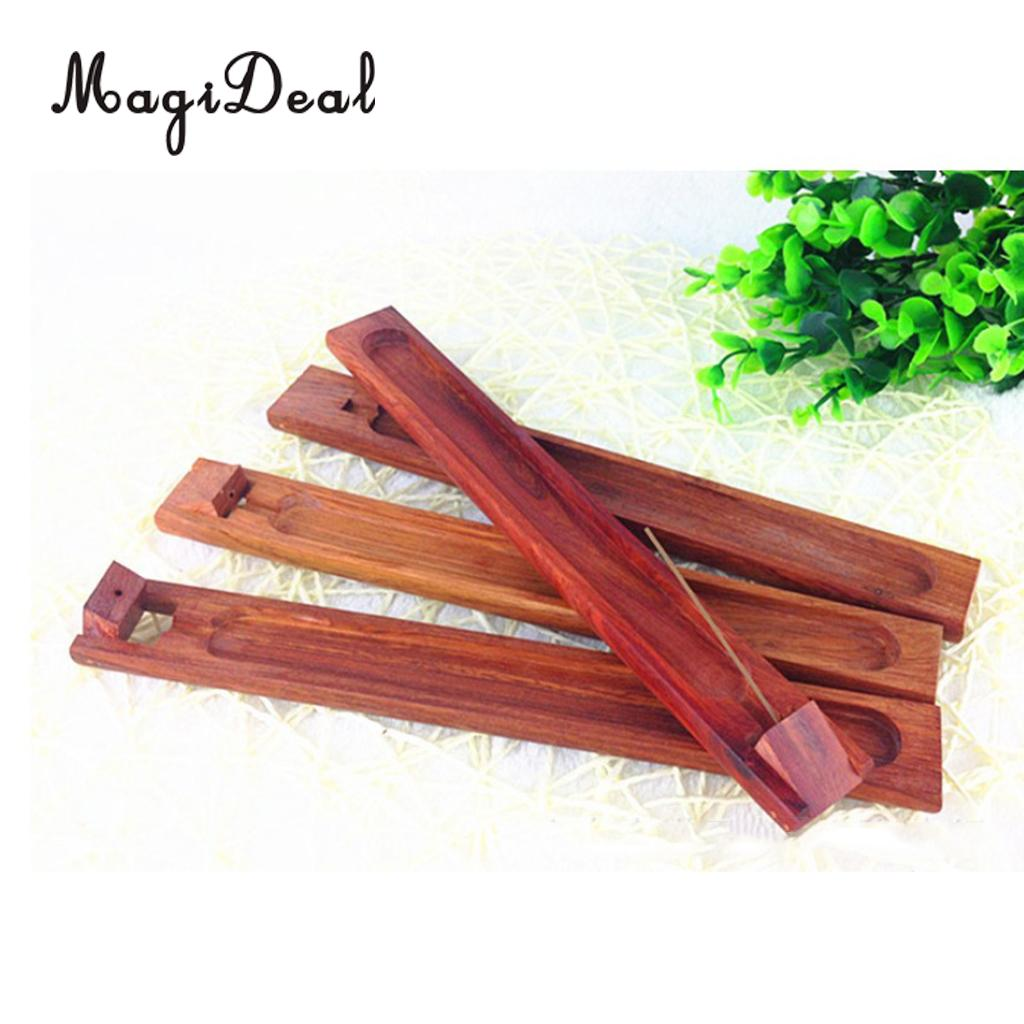 MagiDeal Wooden Incense Stick Holder Handmade Joss Insence Stand Ash Catcher Lightweight Incense Stick