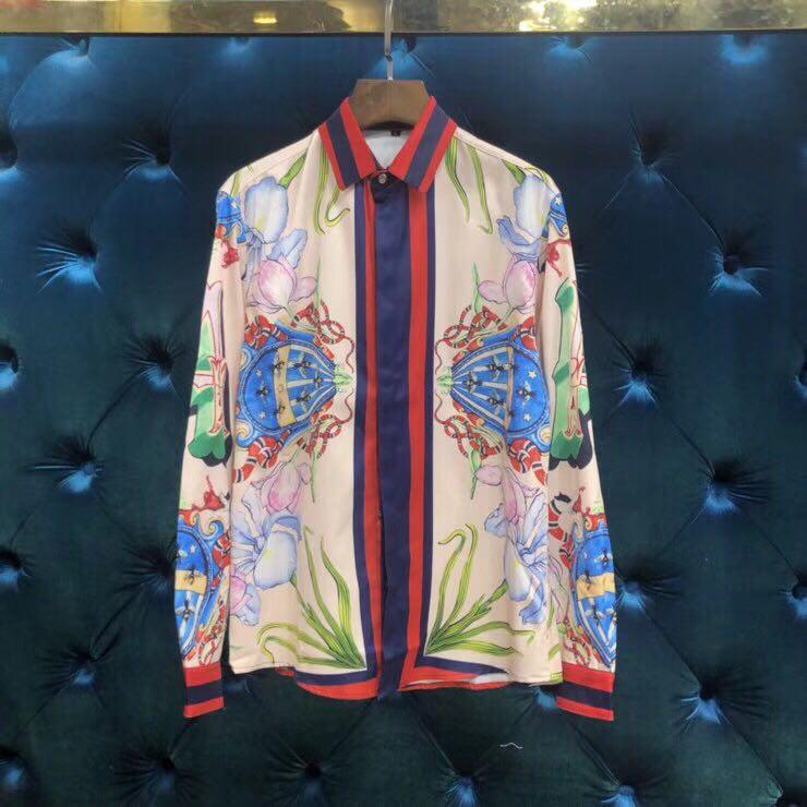 WRD06816BA Fashion Men's Shirts 2018 Europe Luxury Brand Runway Design casual style Men's Clothing
