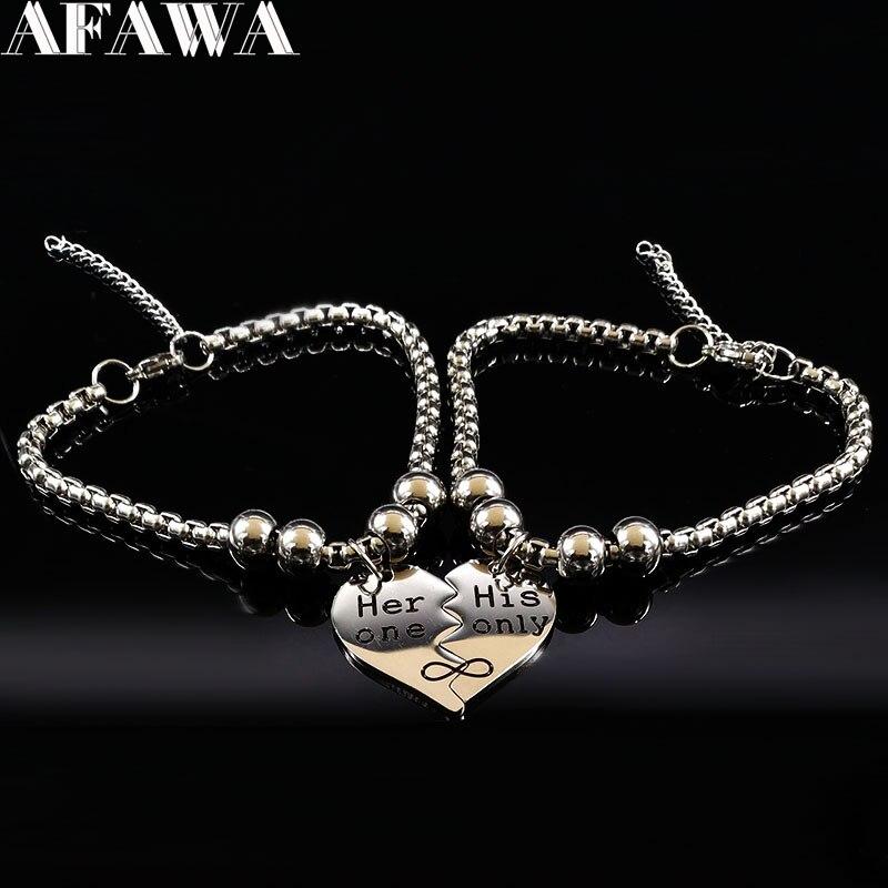 2021 sie Ein Seine Nur Edelstahl Paar Armband für Frauen Silber Farbe Kette Armband Schmuck acero inoxidable B17982