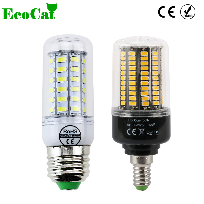 ECO CAT High power E27 E14 LED bulb 5W 7W 9W 15W 110v 220v Smart IC bombillas led light warm white/white  led lamp SMD5736 1w led bulbs high power 1w led lamp pure white warm white 110 120lm 30mil taiwan genesis chip free shipping