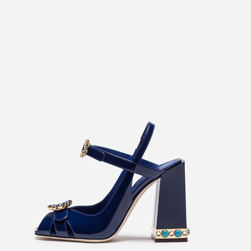2018 Brand New Runway Sandal Thick Chunky Heel Jewelry Heel Peep Toes Buckle Strap Mary Jane