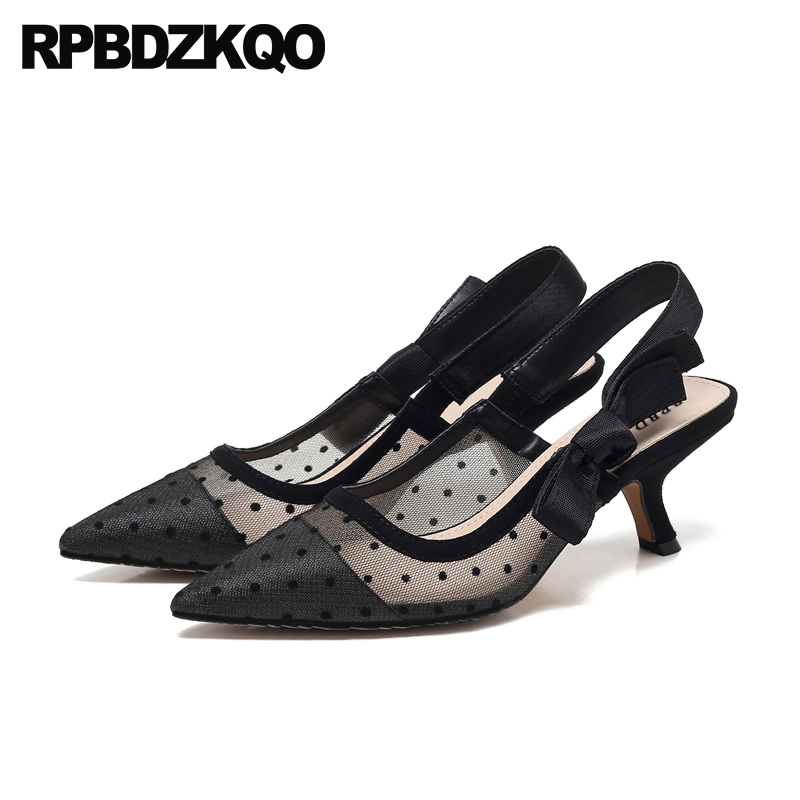 Polka Dot Novelty 2018 Mesh Ladies Kitten Heels Shoes Pointed Toe Size 4 34 Pumps Slingback Black Medium Stiletto Bow Sandals