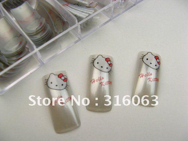 100PCS/Set Fashion Gray Hello Kitty False Nail Tips Artificial Nail Pre Design  Nail Art  NA417