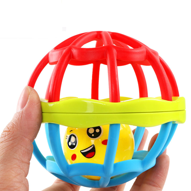 Mini Colorful Smile Face Kawaii Soft Baby Rattle Ball Teether Hand Shaking Bell Rattle Fun Baby Toys Early Educational Toys