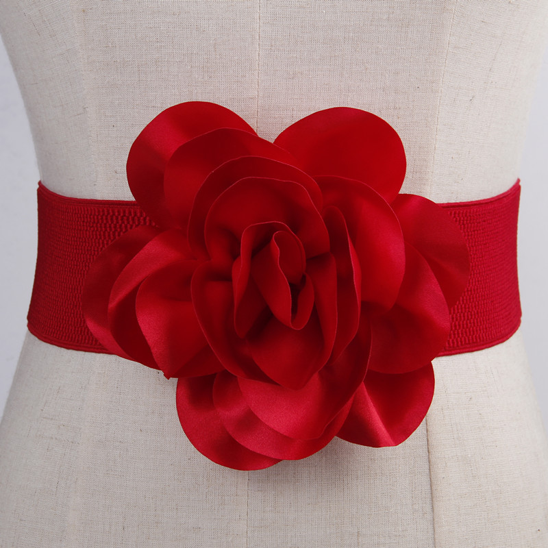 Ladies Flowers Wide   Belt   Dress Tight Elastic Spring And Summer Waistband New Fashion Imitation Leather Black Red Party Wide   Belt