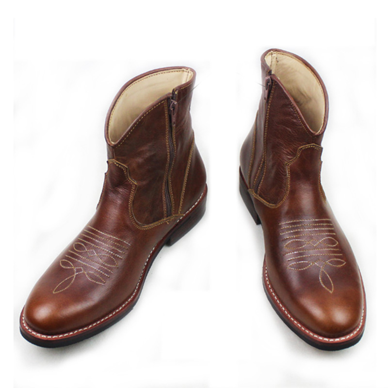 Western Cowboy Boots Men Cowhide Gneuine Leather Work Boots Shoes Brown Handmade Riding/ Knight Short Boots Men Botas Hombre,45