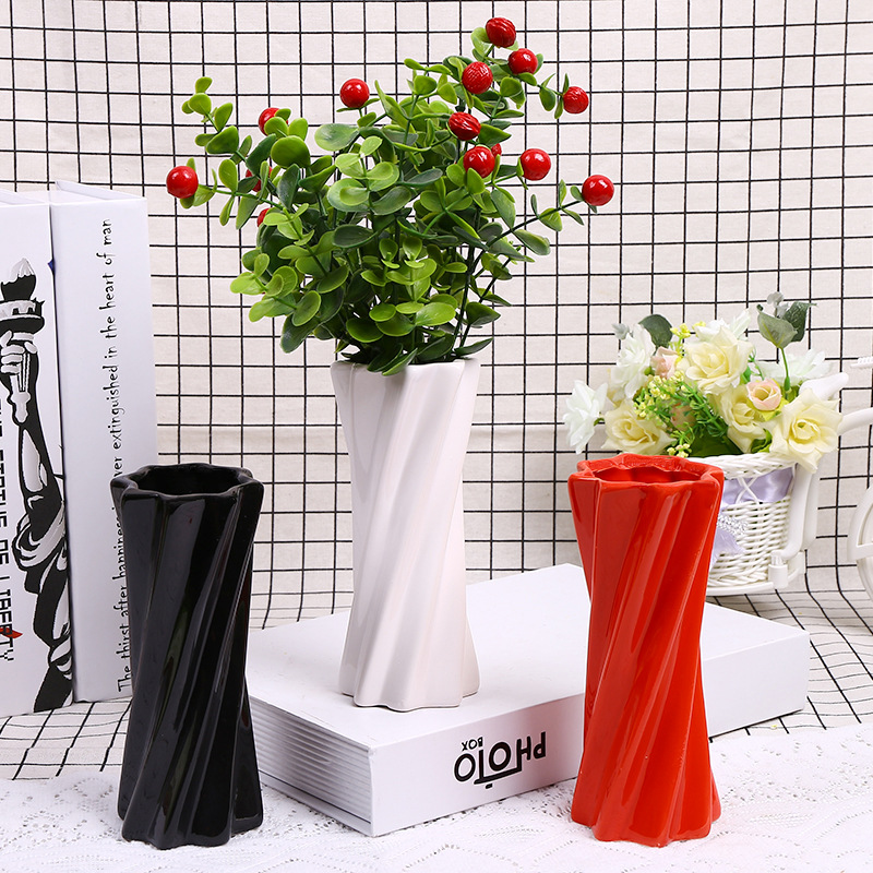European Modern Fashion Ceramic Flower Vase Home Decoration Black