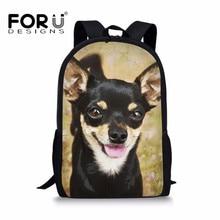 FORUDESIGNS Children School Bag Girl Boy Chihuahua Print Pri