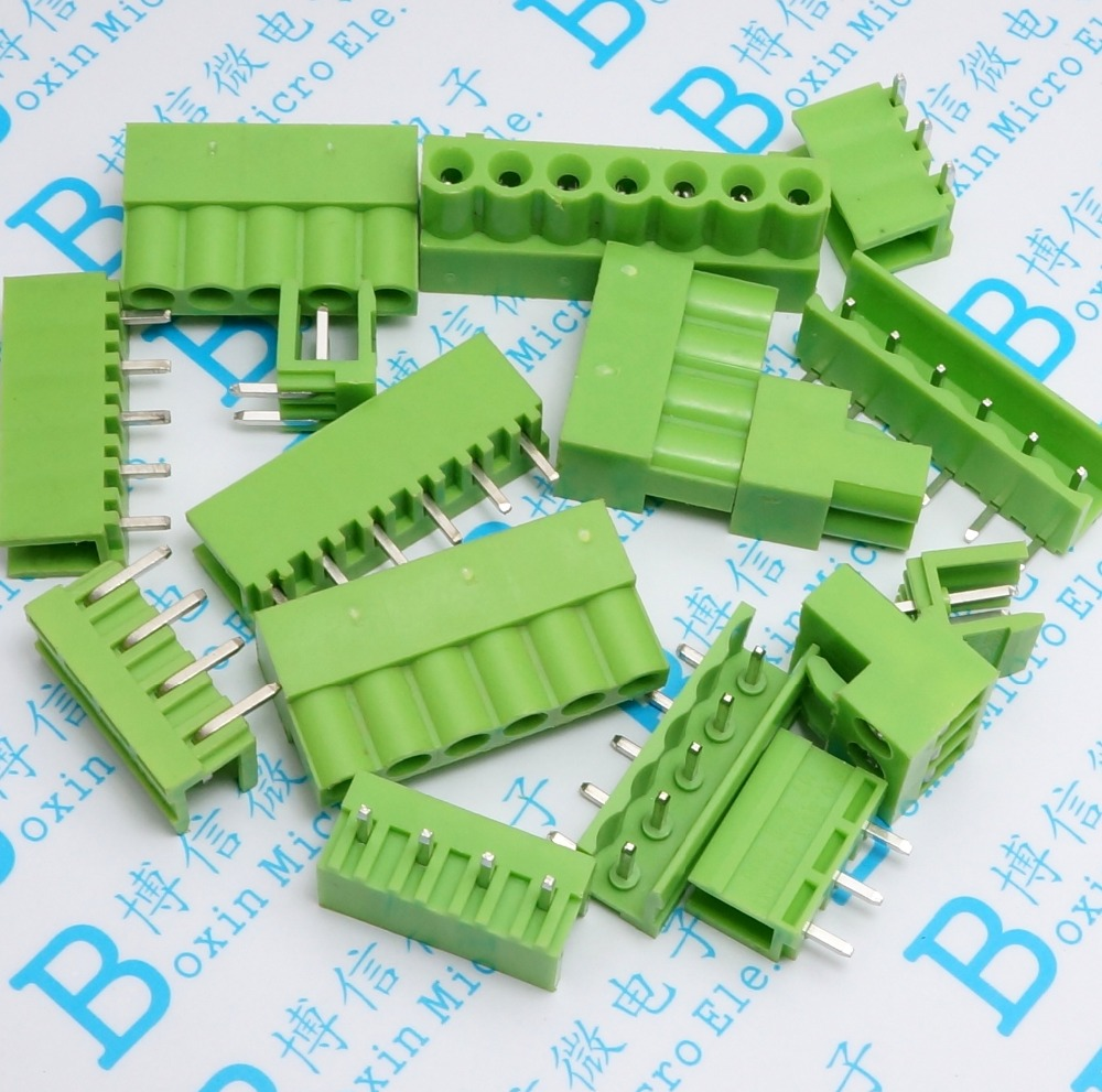 10sets Terminal plug type ht5.08 5.08mm pitch connector pcb screw terminal blocks connector Right Angle 2/3/4/5/6/7/8P Green 10A