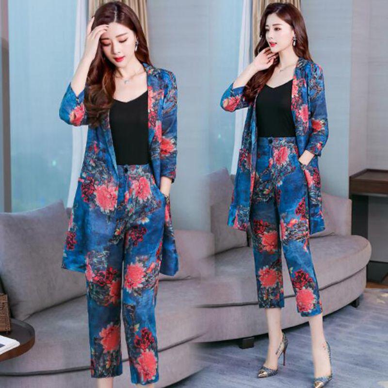 Женский костюм с принтом, длинный и маленький костюм, осень 2019, новый модный костюм в Корейском стиле на раннюю осень, два комплекта