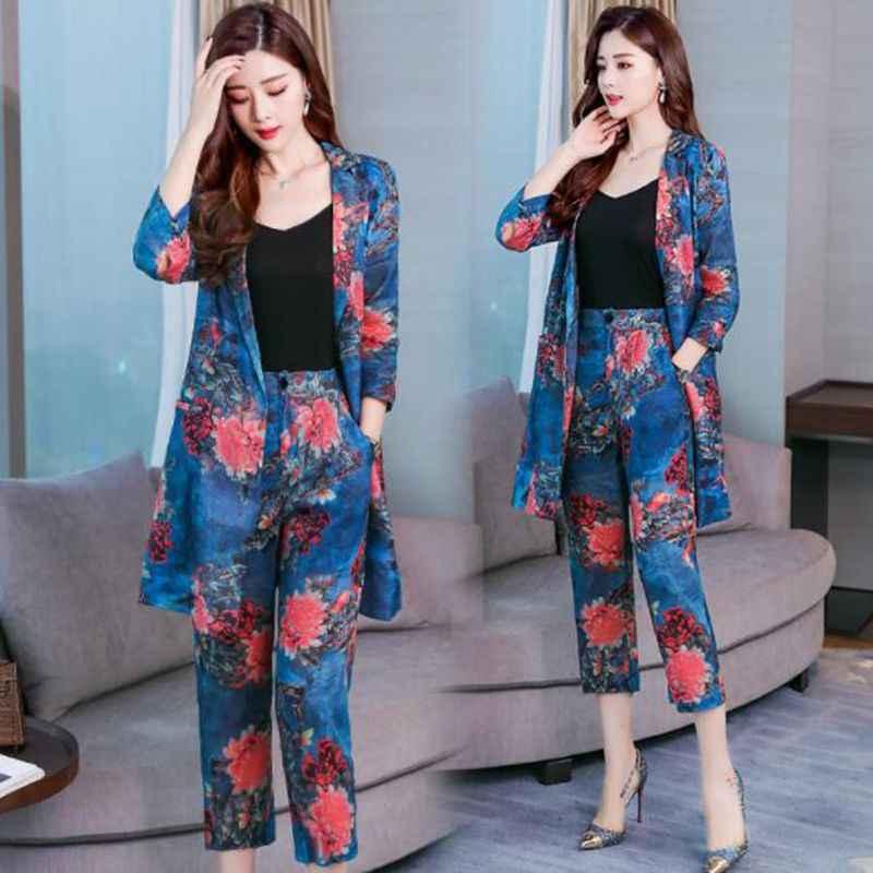 を印刷と小さなスーツスーツ女性 2019 秋新韓国語バージョンの初秋ファッションファッションスーツ 2 setsof 潮 MS