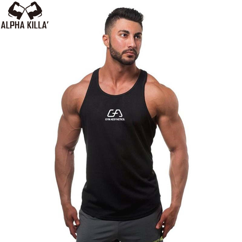 2017   Tank     Tops   Sleeveless Vest   TOP   Undershirt casual fitness Mens casual print Bodybuilding Red gray black