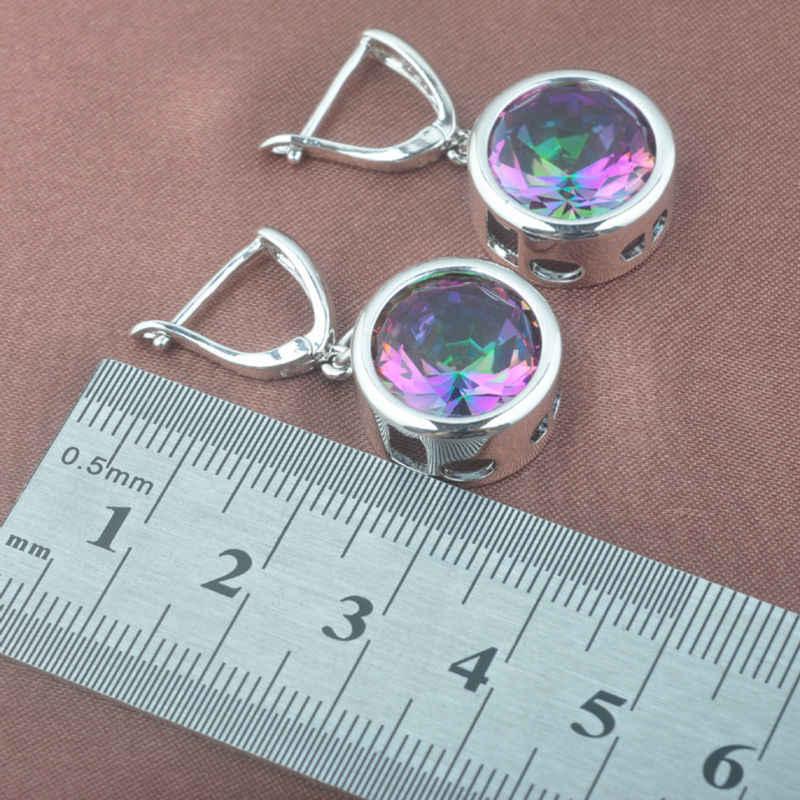 ใหม่รอบ Multicolor Rainbow Zircon สีเงินชุดเครื่องประดับสร้อยคอจี้ต่างหูแหวน TZ0374