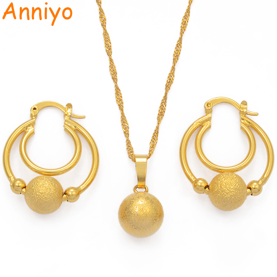 Anniyo Beads Jewelry Set Ball Pendant Chains and Earrings for Women Girls Dubai Gold Color African Birthday Party Gifts #070602