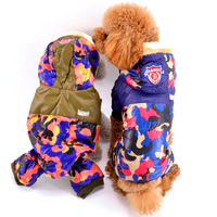 Camouflage Yorkshire Winter Clothing Blue Green Snow Warm Pet Puppies Animals Overall For Cats Breeds Chihuahua