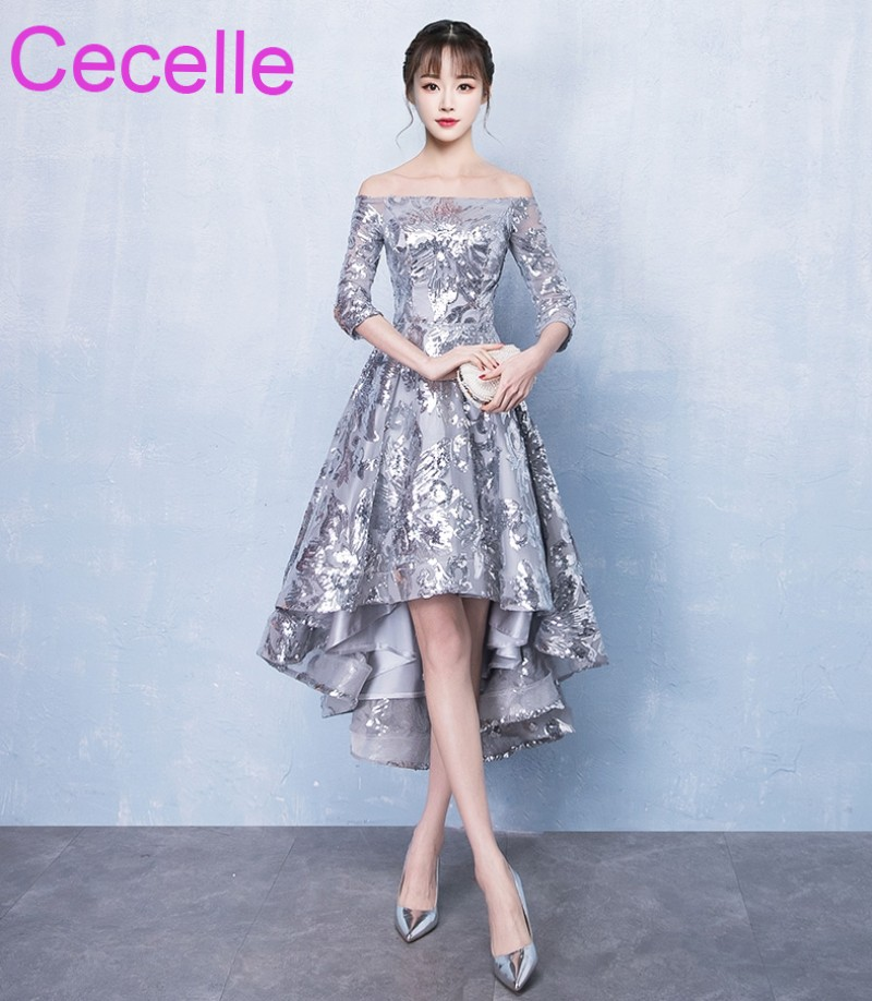 2019 Shinny Silver Sequins Lace High Low Short   Cocktail     Dresses   Off the Shoulder Half Sleeves Girls Informal Party   Dress   Sale