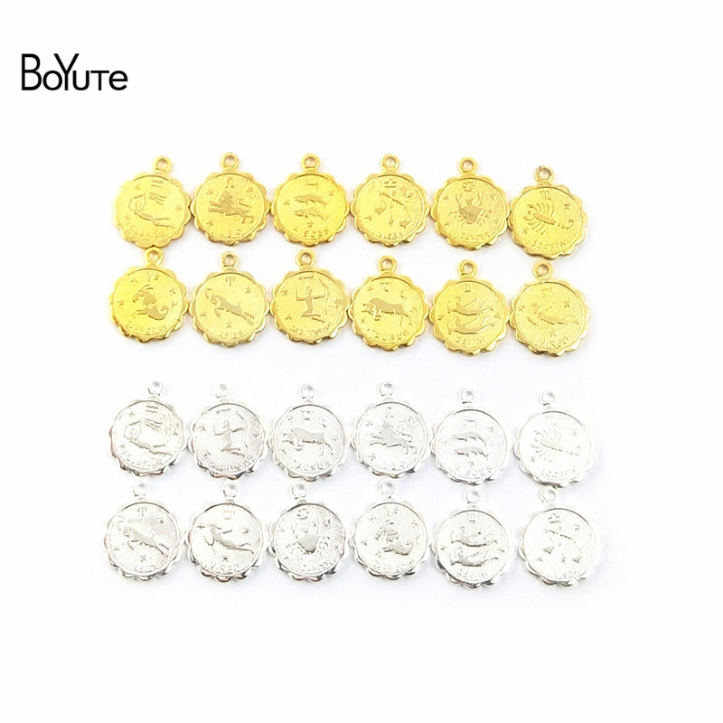 BoYuTe (12 Pieces/Set) Metal Brass 12MM Mix Zodiac Charms For Jewelry Making DIY Hand Made Jewelry Accessories Parts