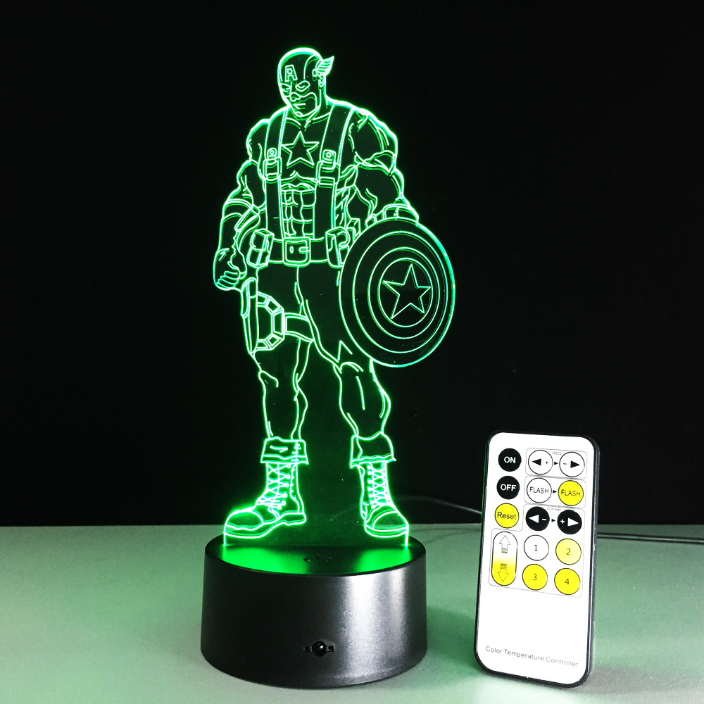 Beautiful NEW Marvel Avengers Civil War Captain America 3D Illusion Night Light  Colorful LED Table Lamp For Boys Children Gift In LED Night Lights From  Lights ...