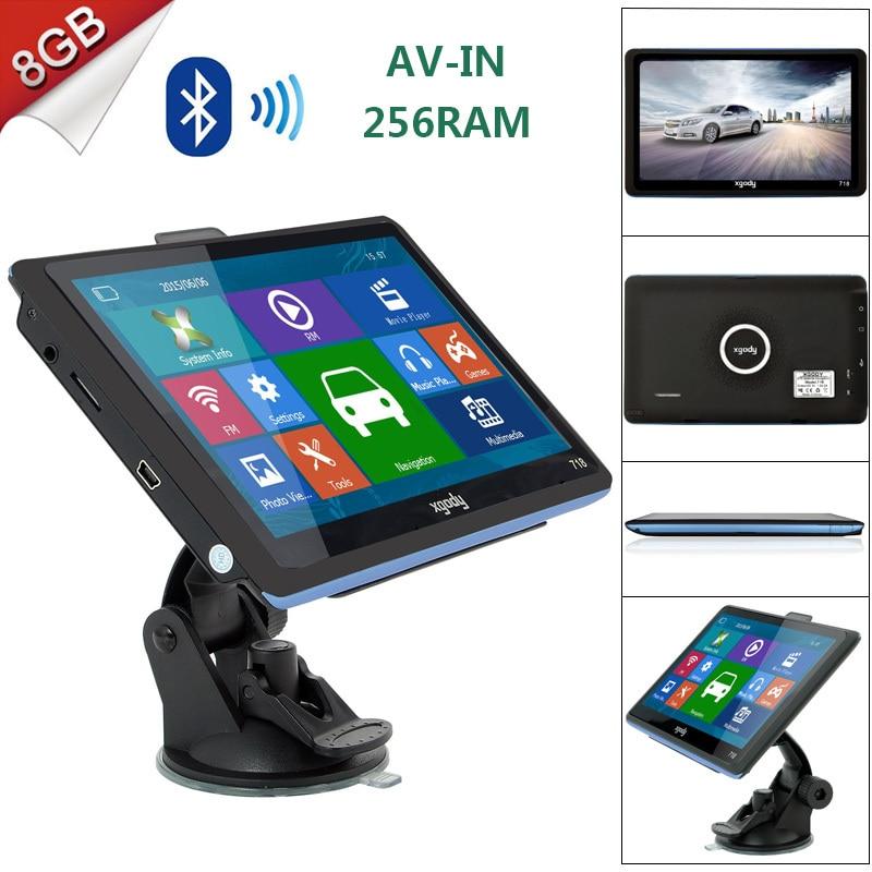 Xgody 718 7 inch font b GPS b font Navigation 256MB RAM 8GB ROM Bluetooth AV