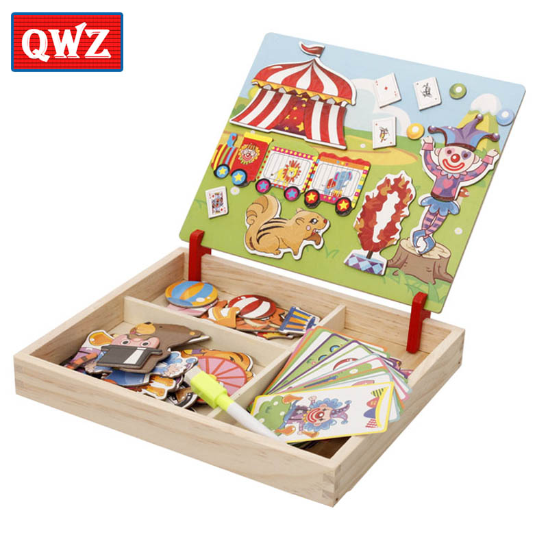 Wooden Educational Magnetic Puzzle Game - Reusable Stickers For Children 3
