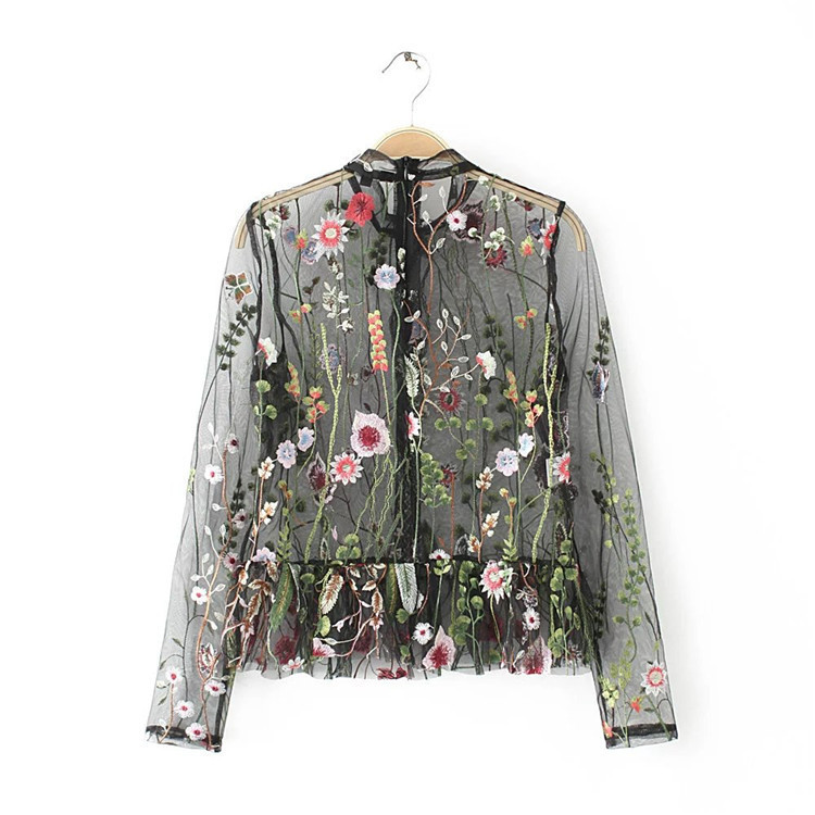 Ky&Q Sexy Mesh Flower Embroidery Tops Women Blouses 2017 Woman Shirt - Women's Clothing - Photo 3