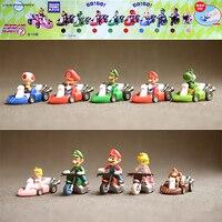 10pcs Bag Super Mario Bros Karting Luigi Motorcycle Cartoon TOMY Anime Action Figure Mini PVC 6CM