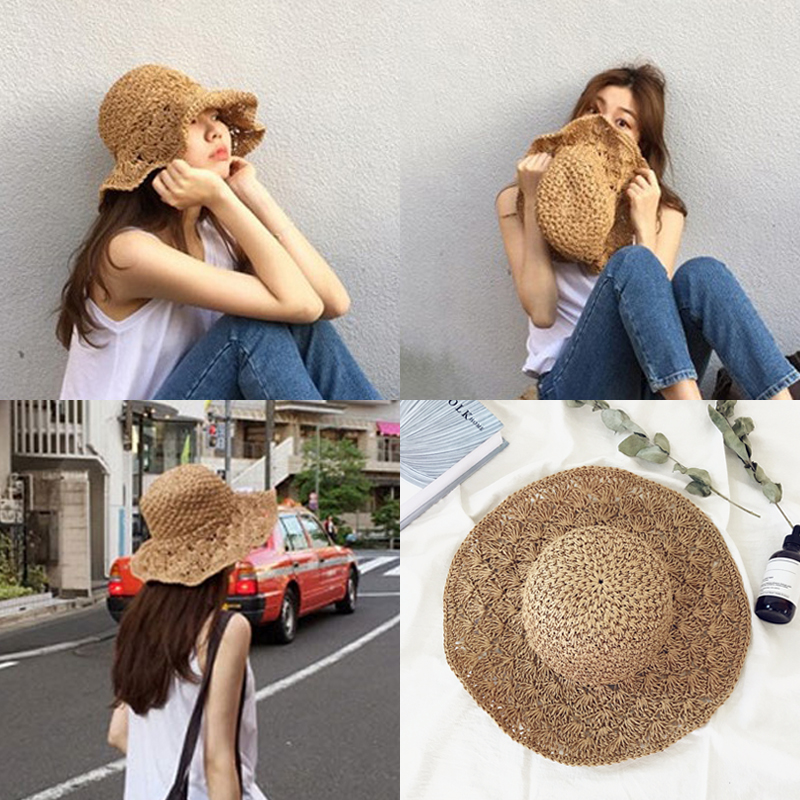 Wide Brim Floppy Foldable Straw Sun Hat Women Summer Beach Hat Temperament Flat Straw Hats Women's Sea Beach Hat