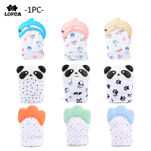 Silicone Teether 1pc Animal Dolphin Baby Teething Glove Panda Wrapper Sound Teething Chewable beads Newborn Toddler Food Grade(China)