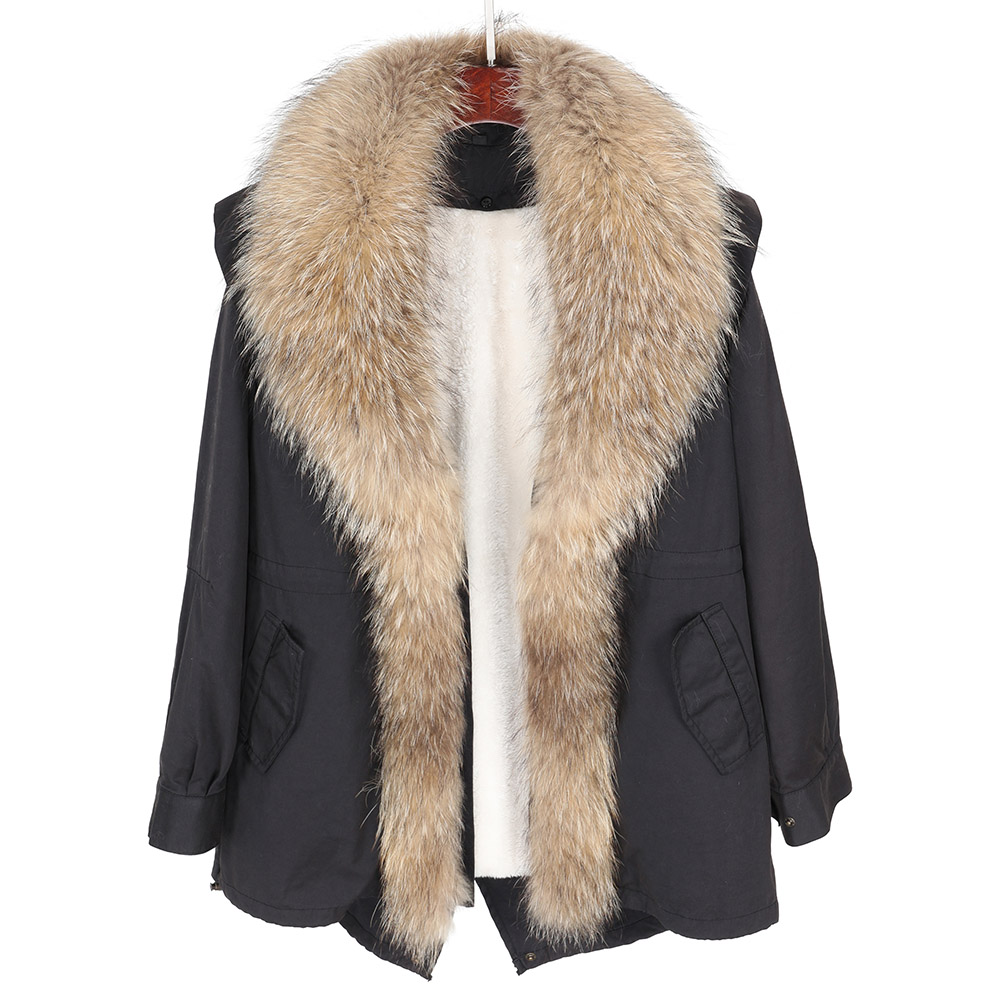 Maomaokong2018 new natural raccoon big fur collar Women's fur coat Park warm jacket