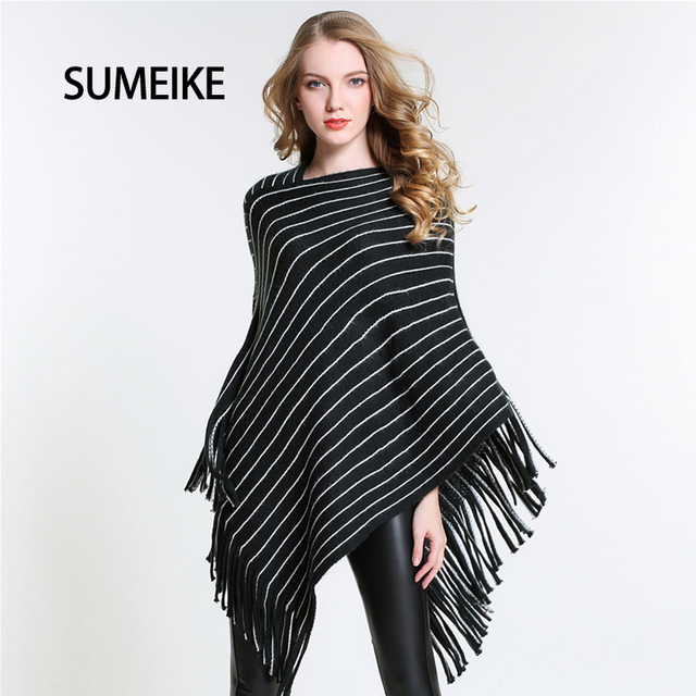 Hot 2017 Newest Striped Pattern Warm Women's Poncho Tassel Decor Ladies Winter Scarf Women Knitted Shawl and Scarves SMPK003