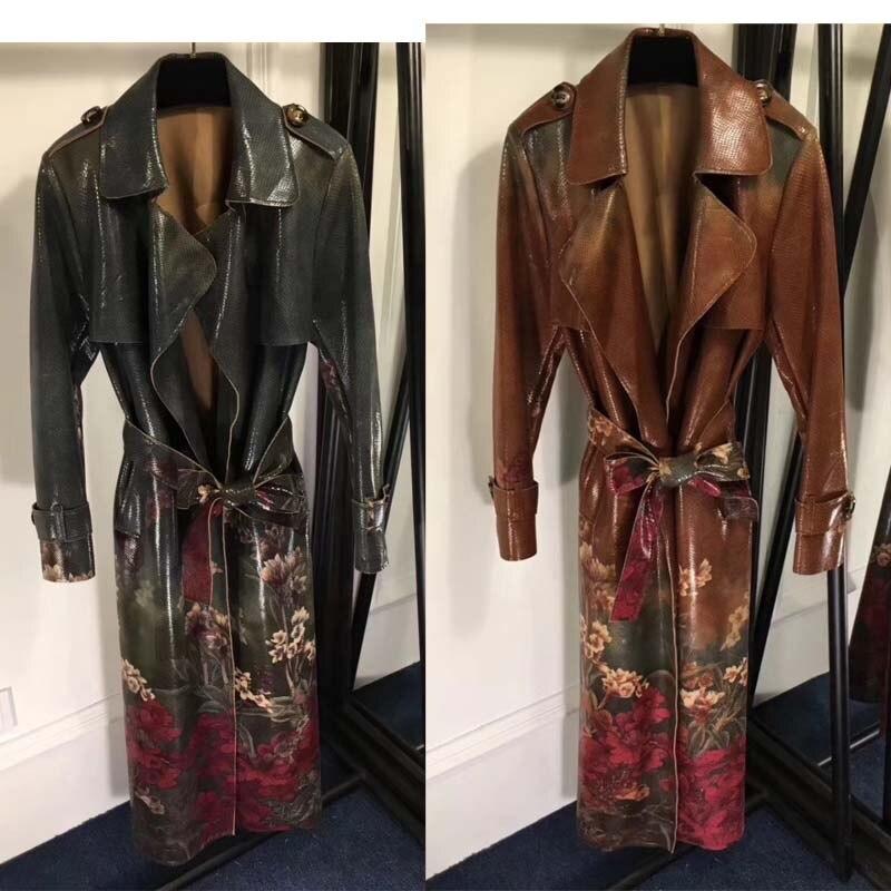 Женское модное пальто с принтом, высококачественное, Змеиный узор, sobretudo, красивое женское длинное кожаное пальто