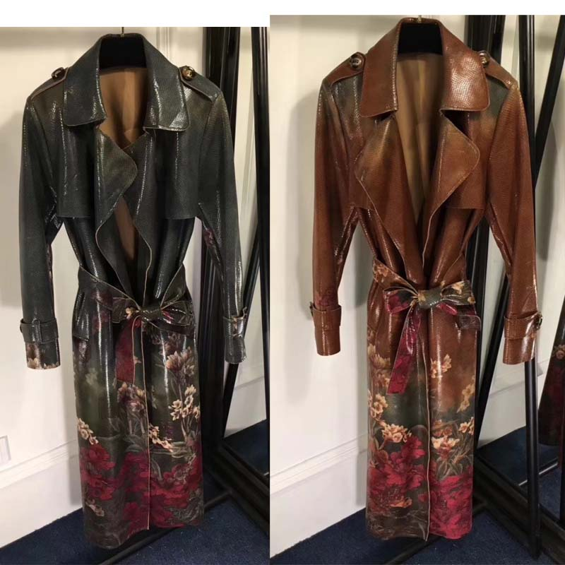 women fashion printing trench coat high grade snak