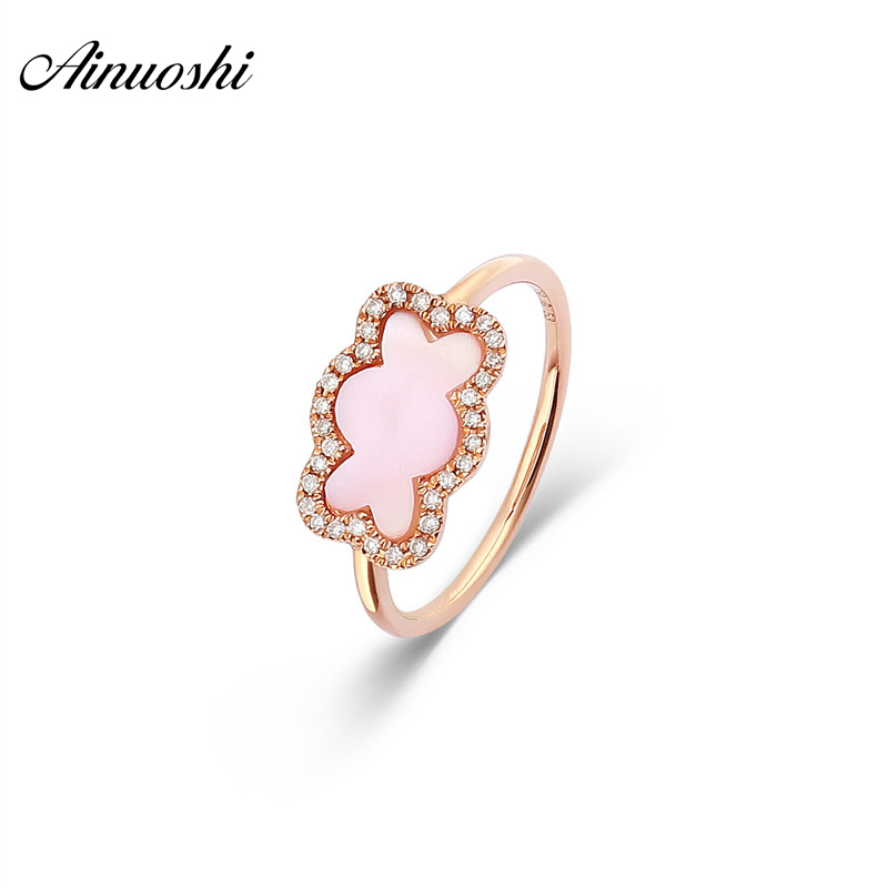 AINUOSHI Genuine 18K Rose Gold Lovely Bear Ring Natural Pink Onyx Ring Real Diamond Ring Fashion Female Jewelry Gift