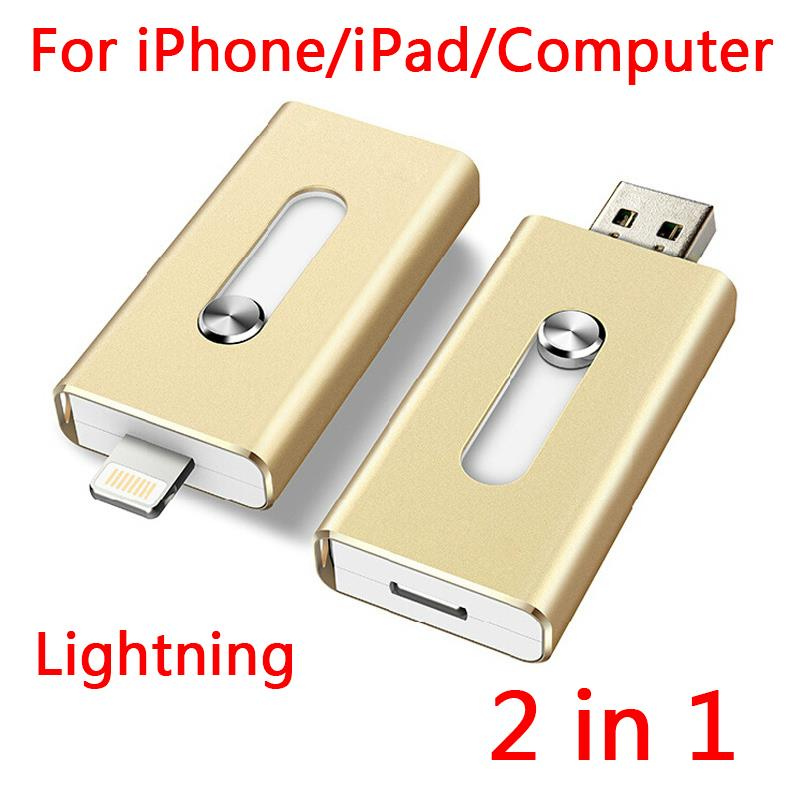 100% Real Capacity 16GB 32GB 64GB Lightning USB Flash Drives OTG For IPhone, Computer Gift USB 2.0 Pendrive Memory Stick 1TB 2TB