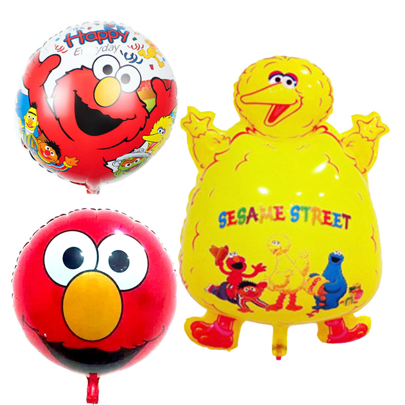 3pcs Curassow globos Sesame Street foil balloons kids toys happy birthday Balloo