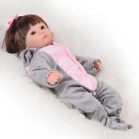 17inch High Cute Reborn Baby Doll 100 Handmade Lifelike Newborn Silicone Babies Girl Play Toy For