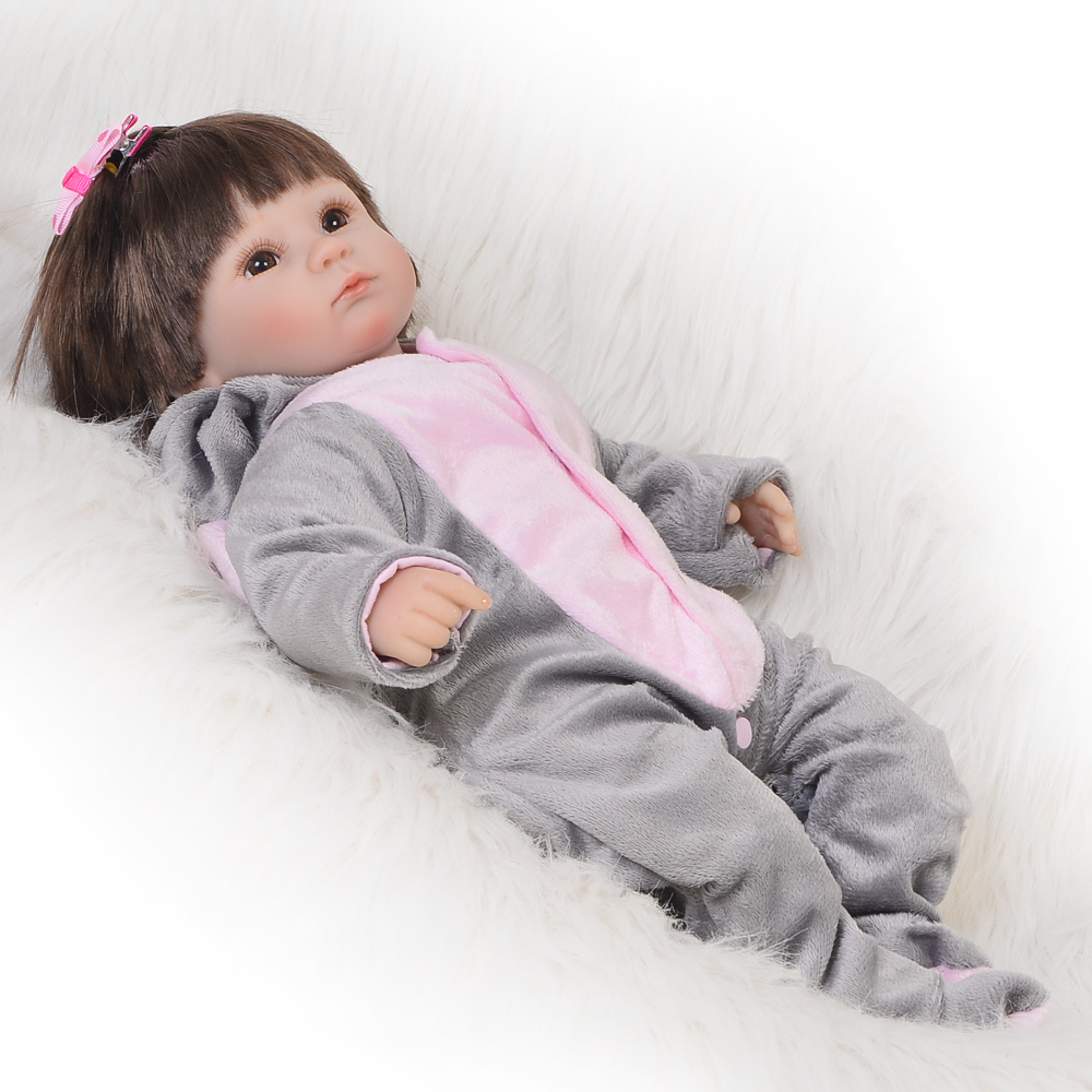 17inch High Cute Reborn Baby Doll 100% Handmade Lifelike Newborn Silicone Babies Girl Play Toy For Kids Birthday Xmas Gift handmade 22 inch newborn baby girl doll lifelike reborn silicone baby dolls wearing pink dress kids birthday xmas gift