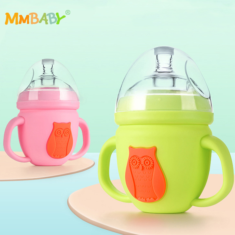 MMBABY Baby Bottles High Borosilicate Glass Cute Cartoon Feeding Bottle for Milk Water with Silicone Handle
