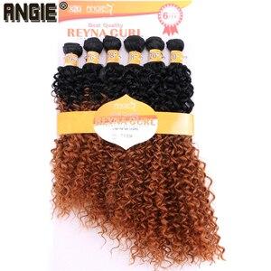 Image 5 - ANGIE Synthetische Kinky Krullend Haar Bundels Two Tone Ombre Kleur Haar Weave 16 18 20 inches Gemengde 1 pak Oplossing