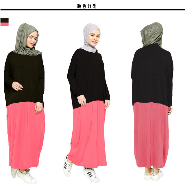 Muslim new women's new modal cotton long dress loose abaya