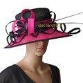 NUEVA negro/fucsia rosa Grande Sombrero Sinamay sombrero elegante w/columna de avestruz para la boda razas iglesia