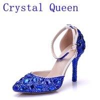 كريستال الملكة سيدة عالية الكعب الصنادل أحذية زفاف الماس الأزرق كريستال حذاء امرأة الزفاف استوديو الزفاف اللباس أحذية