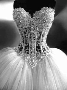 Image 2 - משלוח חינם מתוקה חרוזים שמלות כלה טול 2016 שמלת כלה