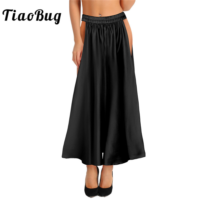 TiaoBug Fashion Women Soft Satin Belly Dance Skirt Lady Adult Stage Performance Dance Costume Female Tribal Two Side Slit Skirt
